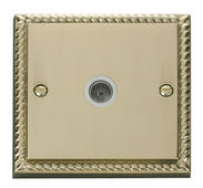 Click Deco Single Coaxial Socket White Georgian Cast Brass