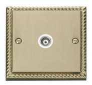 Click Deco Single Isolated Coaxial Socket White Georgian Cast Brass