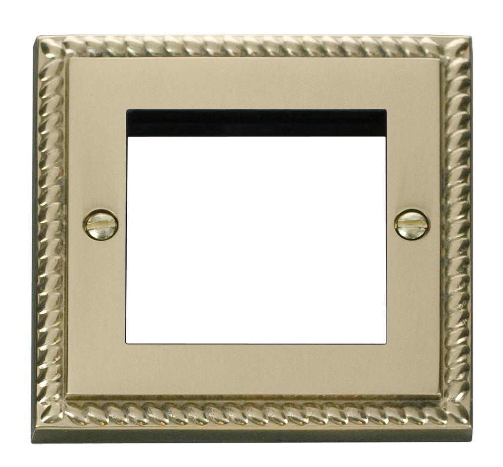 Click Deco Single Plate (Twin Media Module Aperture) Georgian Cast Brass