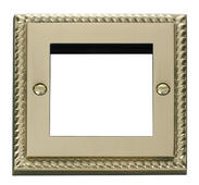 Click Deco Single Plate (Twin Media Module Aperture) Georgian Cast Brass
