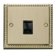 Click Deco Single RJ11 Socket  (Ireland/USA) Black Georgian Cast Brass