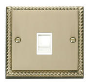 Click Deco Single RJ11 Socket  (Ireland/USA) White Georgian Cast Brass