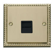Click Deco Single Telephone Socket Master Black Georgian Cast Brass
