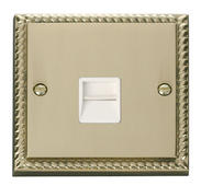 Click Deco Single Telephone Socket Secondary White Georgian Cast Brass