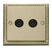 Click Deco Twin Coaxial Socket Black Georgian Cast Brass