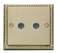 Click Deco Twin Coaxial Socket White Georgian Cast Brass