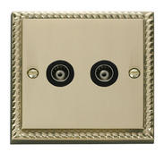 Click Deco Twin Isolated Coaxial Socket Black Georgian Cast Brass