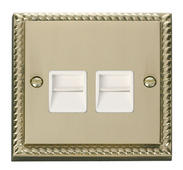 Click Deco Twin Telephone Socket Master White Georgian Cast Brass