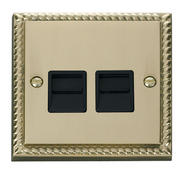 Click Deco Twin Telephone Socket Secondary Black Georgian Cast Brass