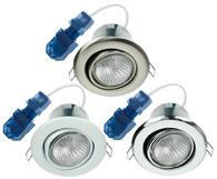 Click Flameguard GU10 Tilt Downlights White Satin Chrome