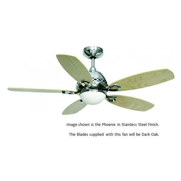Light/Remote//Fantasia Phoenix Ceiling Fan 42in SS/Dark