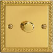 Varilight V-Pro 1G 400W 2 Way Trailing Edge Dimmer in Georgian Brass