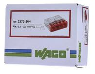 Wago 2273-204 Compact Push Wire Connectors for Junction Boxes 4 Conductor White Terminal 100