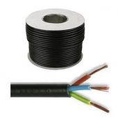 Black PVC Flexible Cable 3183Y 3 core 1.5mm (100 metre rolls)