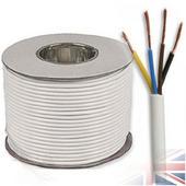 White PVC Flexible Cable 3184Y 4 Core 0.75mm (50 metre rolls)