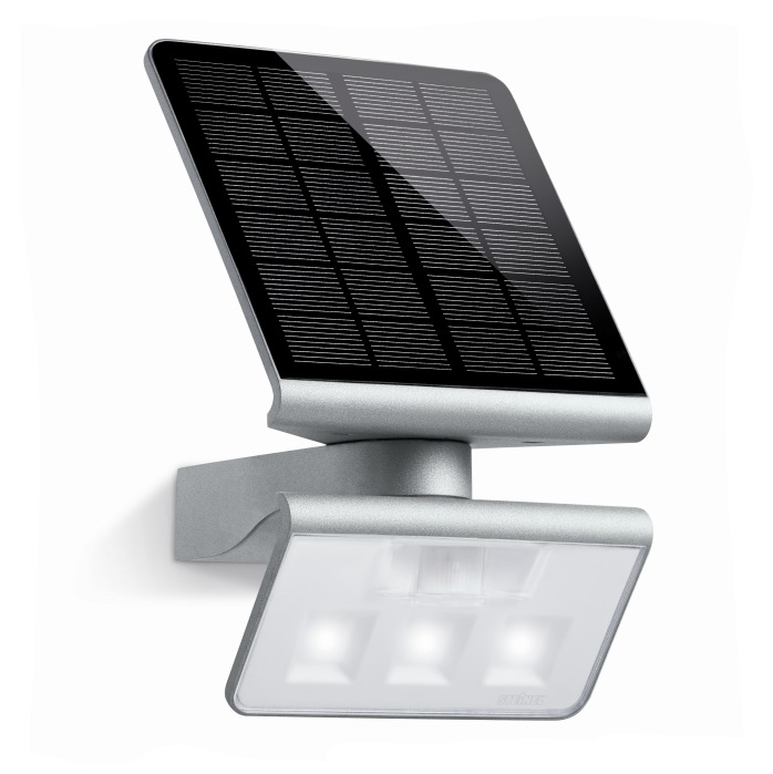 Steinel XSolar LS  LED PIR Solar Wall Light Silver 671013