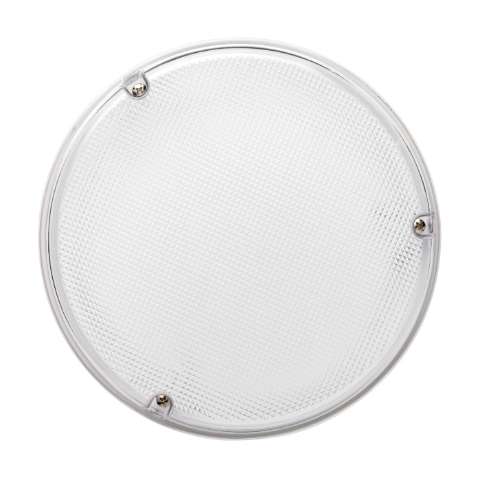 JCC RadiaLED IP65 Bulkhead 23W Emergency LED c/w Microwave Dimming Whi/Pris