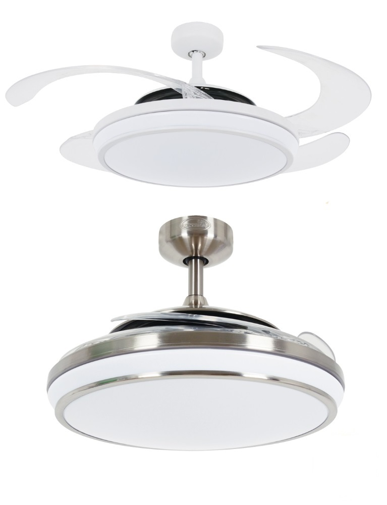Fanaway evo 1 led remote folding blade ceiling light fan white chrome westinghouse ceiling - Fanaway ceiling fan ...
