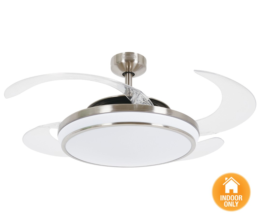 Brushed chrome ceiling fan with light ceiling fan ideas fanaway evo 1 led brushed chrome ceiling fan c w light and remote aloadofball Choice Image