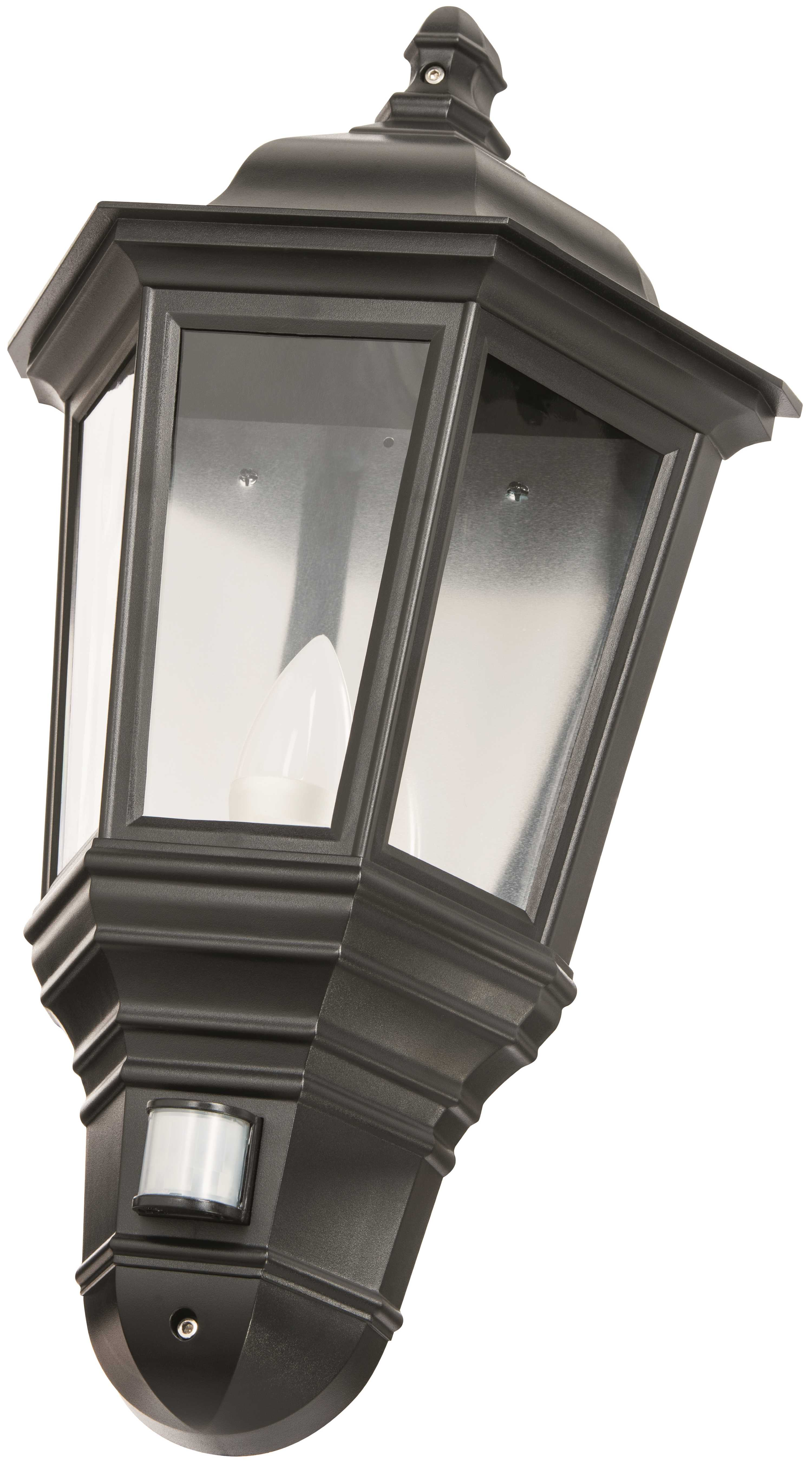 Timeguard CLLEDH44PIRB Black LED Half Carriage Lantern PIR c/w LED Candle Lamp