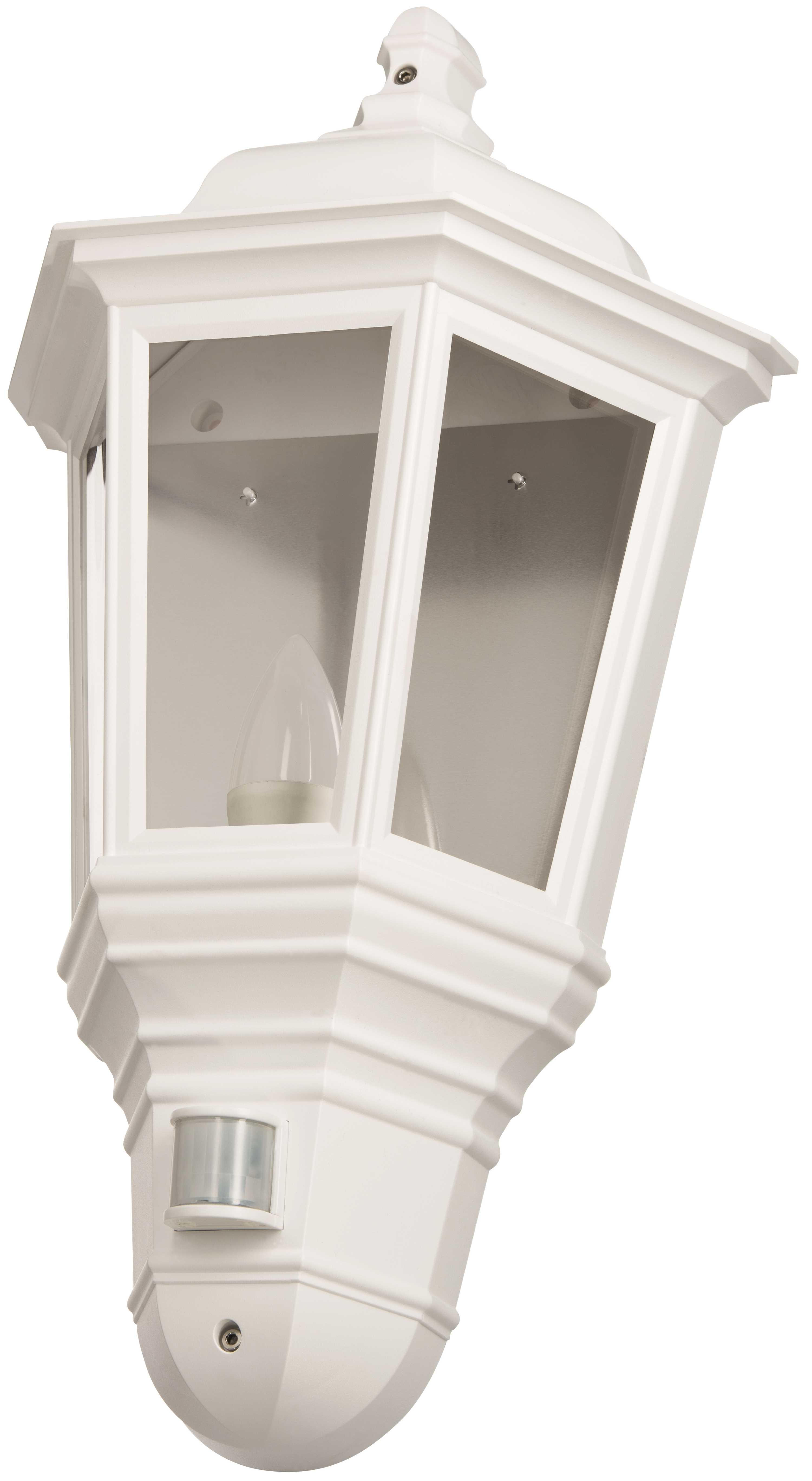 Timeguard CLLEDH45PIRWH White LED Half Carriage Lantern PIR c/w LED Candle Lamp