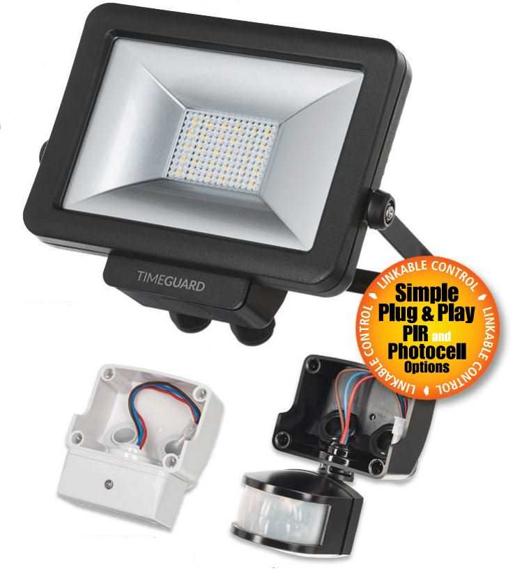 50w Led Flood With Photocell: Timeguard LED Pro Slimline Floodlights Black White