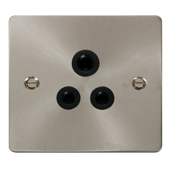 Define Flat 5A Round Pin Socket Outlet Black Insert