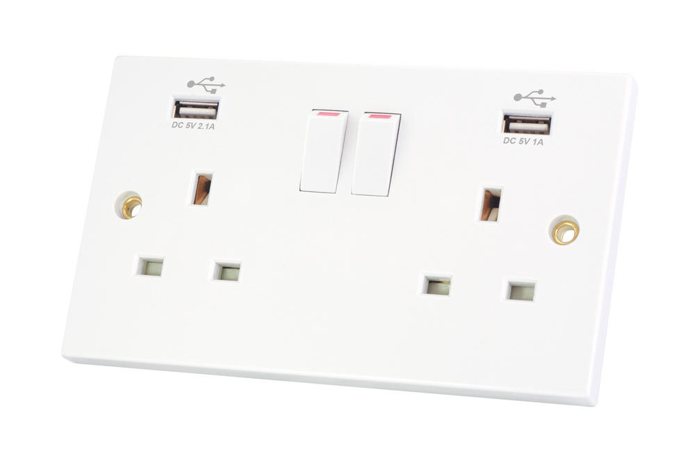 selectric 2 gang switched 13a socket outlet with usb