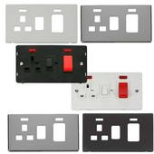 Definity Screwless Flatplate 45A Switch & 13A Switched Sockets With Neons
