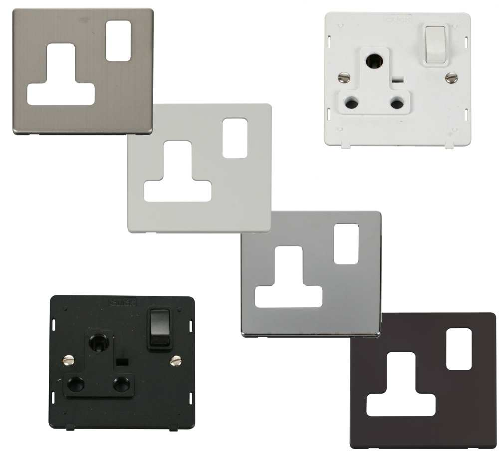 Definity Screwless Flatplate 15a Round Pin Switched Sockets Click Wiring Wall Socket Uk