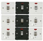 Definity Screwless Flatplate Ingot 20A DP Switches With Flex Outlet