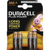 Duracell Plus AAA Alkaline Battery Pack 4 Batteries