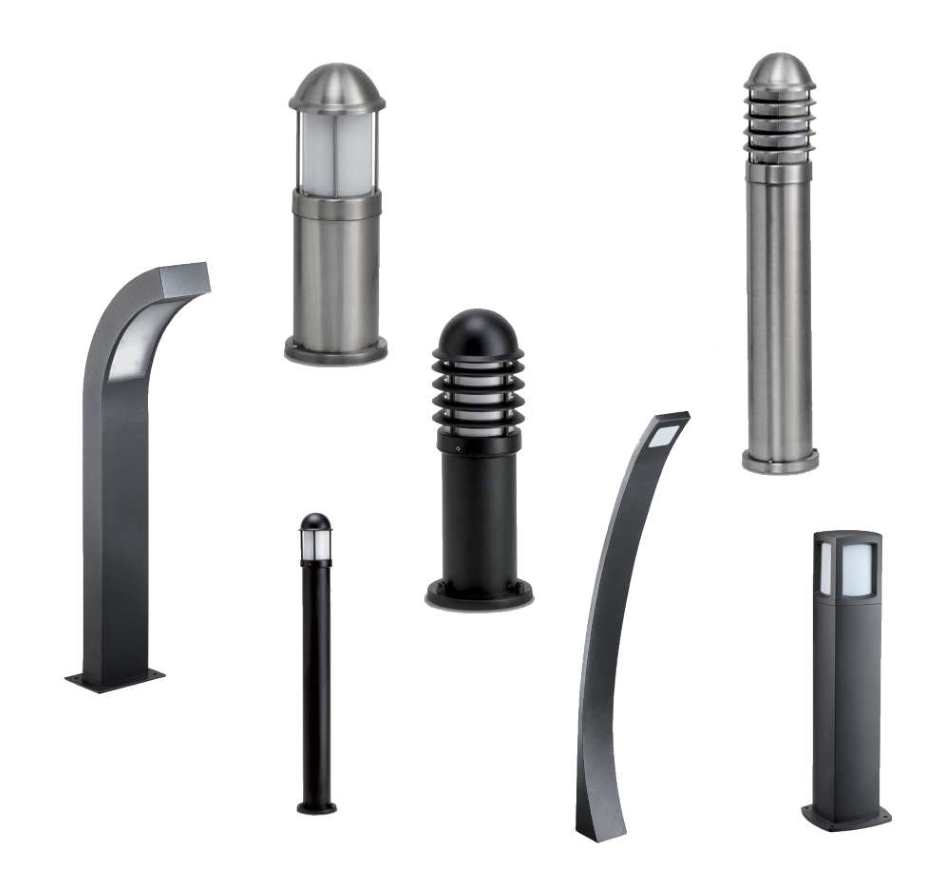 JCC NiteLED LED Bollards Black & Stainless Steel Exterior