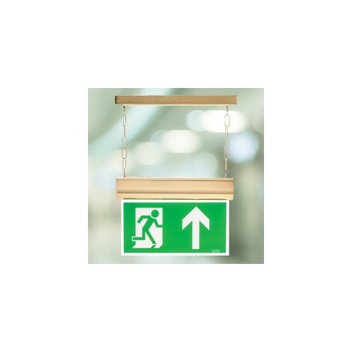 Channel Forest LED Self Test Matt Brass Exit Sign