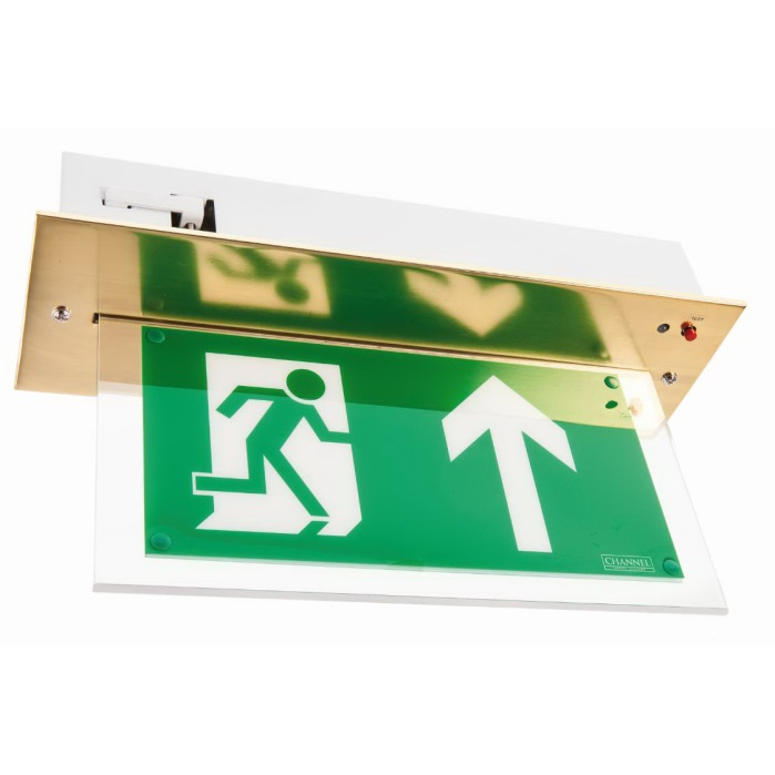 Channel Vale Brass Maintained LED Emergency Exit Sign