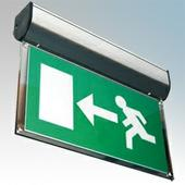 Channel Forest LED Self Test Matt Aluminium Satin Exit Sign