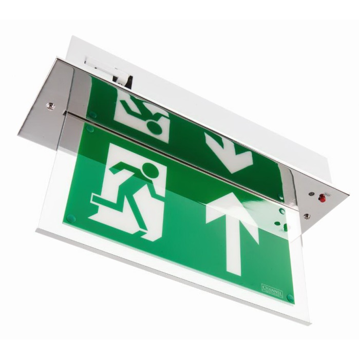 Channel Vale Chrome Maintained LED Emergency Exit Sign