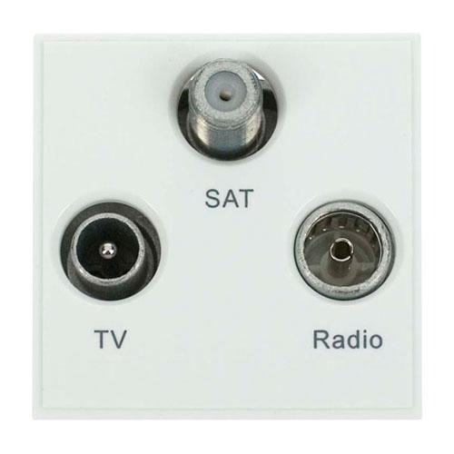 Click Triplexed TV, Radio & Sat Polar White New Media Module