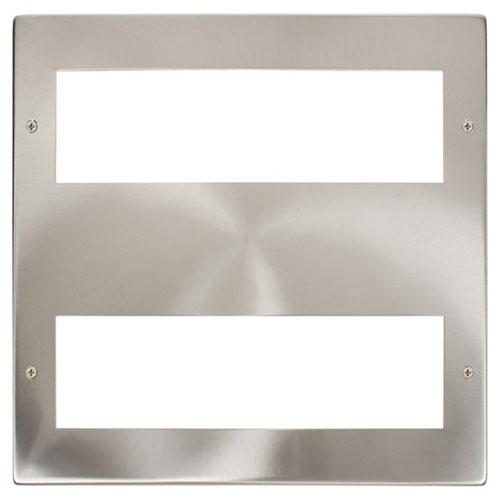 Click Large New Media Module Front Plate (2 X 8 Module) Satin Chrome