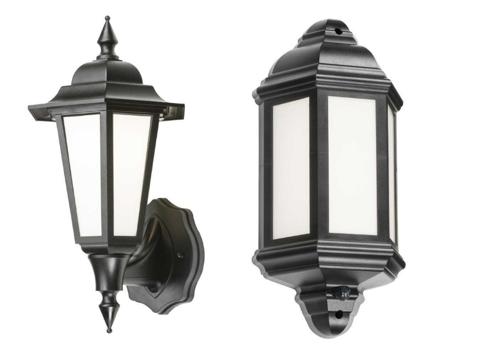 Knightsbridge Outdoor LED Half and Full Wall Lantern Standard or with PIR (Black) IP54