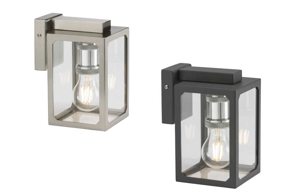 Knightsbridge Modern Brushed Chrome or Black Stainless Steel Wall Lantern Light