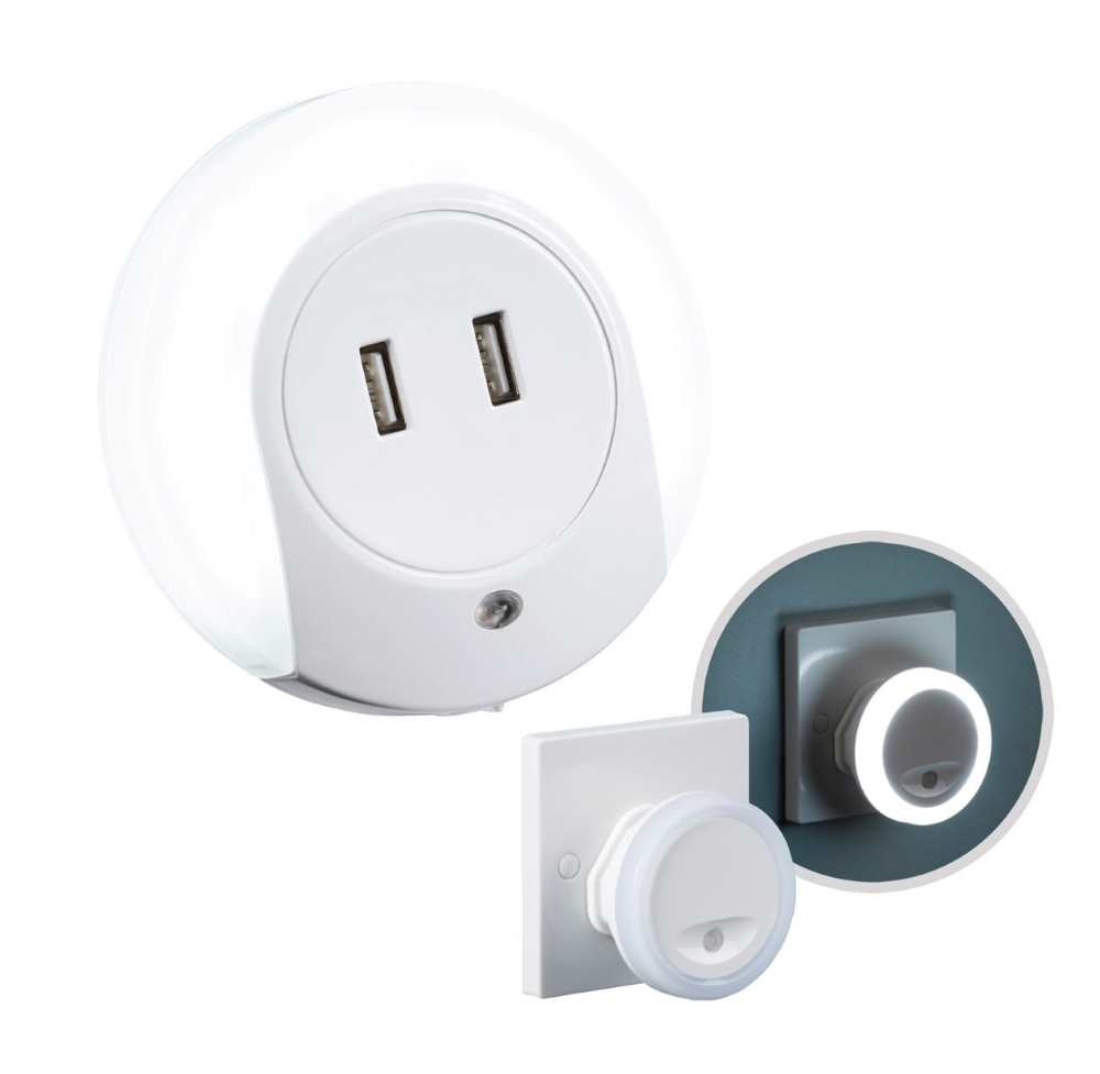 Knightsbridge LED Plug In Night Light with or without USB Outlets Cool White Dusk Til Dawn Sensor