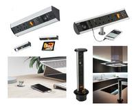 Knightsbridge Counter Pop up Sockets and Power Stations with USB and Speaker