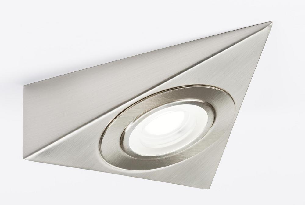 Knightsbridge 230v LED Triangle Cabinet Light Brushed Chrome 3000k and 4000K