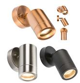 Knightsbridge IP65 GU10 Wall Lights Black S/Steel and Copper Effect