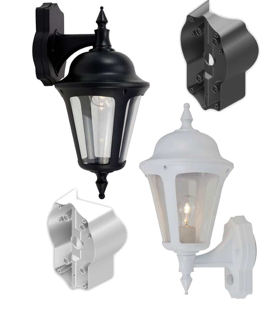Ansell Latina Wall Lanterns Black or White Standard or PIR IP65 and Acc.