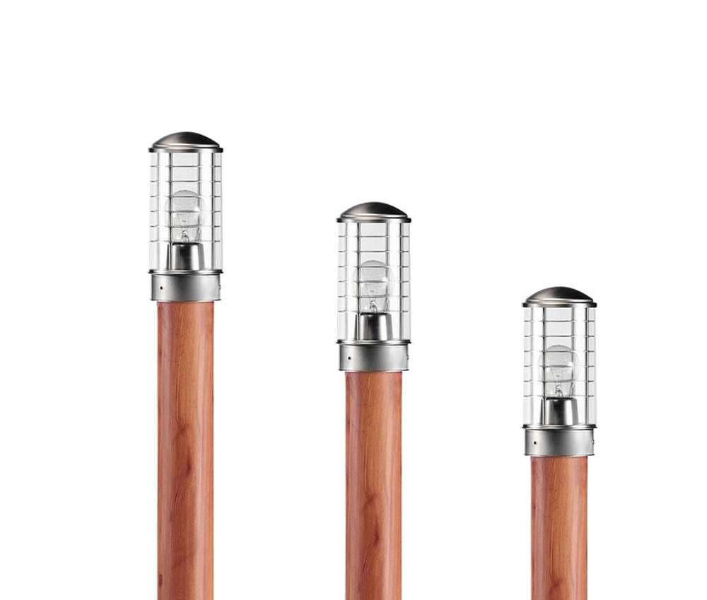 Ansell Urano Inox Country Wood Effect Stainless Steel Head Bollards