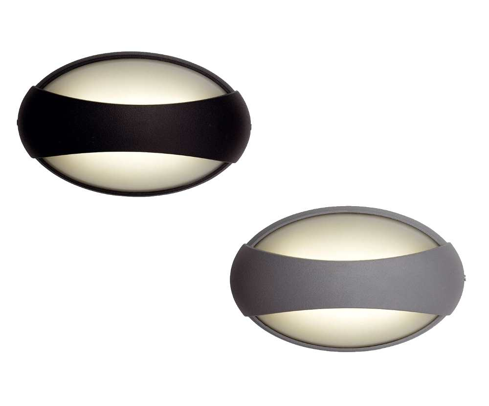 Ansell Vela Compact LED 5W Wall Lights Black or Silver Grey