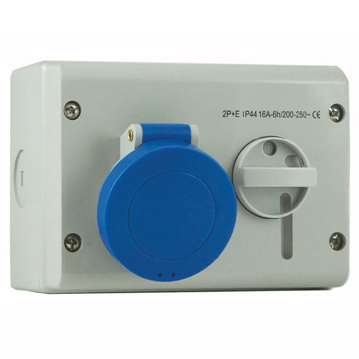 400V 5P 16A Padlockable Switched Socket IP44