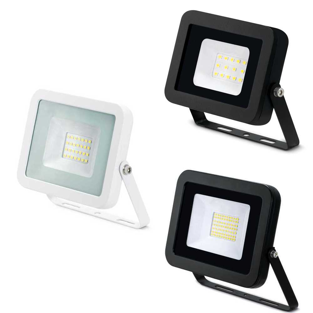 JCC High Performance LED Floodlight 10W 20W 30W or 50W Black or White 4000K IP65